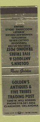 Matchbook Cover - Golden's Antiques Trading Post Claremore OK