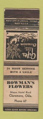 Matchbook Cover - Bowman's Flowers Claremore OK low phone # WEAR