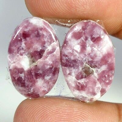 25.90Ct Matched Pair ~~ 100% Natural Lepodolite Oval Cabochon Loose Gemstones