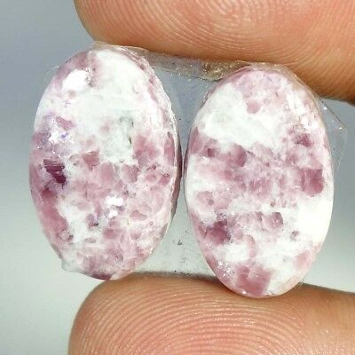 21.95Ct Matched Pair ~~ 100% Natural Lepodolite Oval Cabochon Loose Gemstones