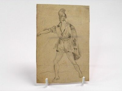 Antique 19th century Continental pencil drawing full length male portrait study