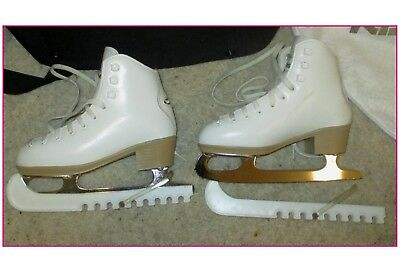 Risport Antea Ii White Ice Skating Boots + Bag(S) & Guards. Size Uk12 Childrens