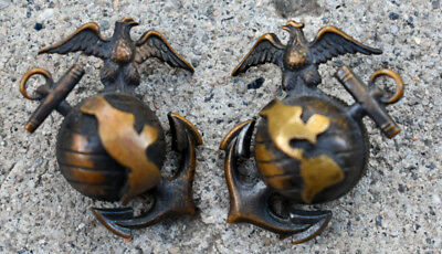 Pre WWII USMC Droopy Wing 1926 EGA Officers Eagle Collar Fire Bronze China Meyer