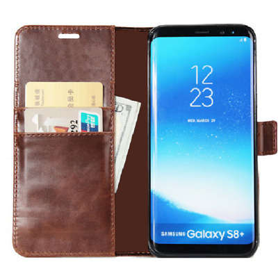 BRAND NEW Brown Wallet Flip Case Leather Magnetic Book Cover for Samsung Galaxy