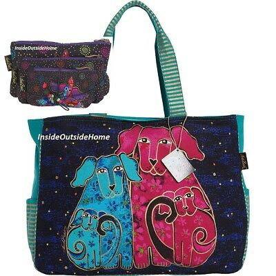 Laurel Burch Dog Blossoming Pup OVERSIZED Tote Travel Sport 3pc Papillon Bag Set