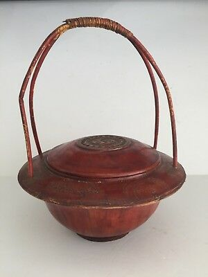 Antique Chinese Wood and Bamboo Wicker Handle Round WEDDING BASKET Signed