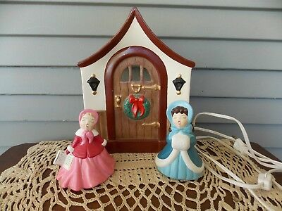 3 Piece Vintage Holland Mold Ceramic Christmas Carolers & Lighted House Front