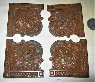 4 Antique American Indian Cast Iron Cjo Judd Desk Art Blotter Corner Holder Ends