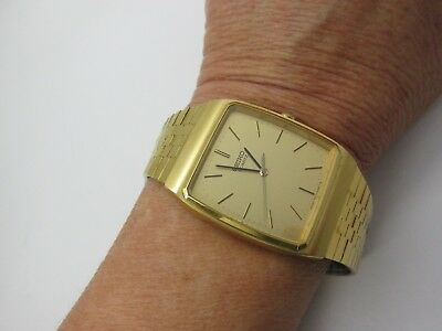 Vintage SEIKO Thin Watch RARE #7810-5159 Square Face Gold Band Unisex Running!!