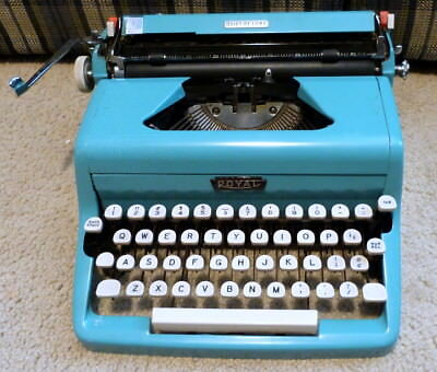 Royal Quiet Deluxe Typewriter - Blue - Gorgeous - 50's - Needs Service