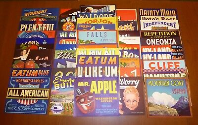 50 Old Fruit Box Apple Crate Labels Vintage Lot Advertising Nos 1930S 40S 50S