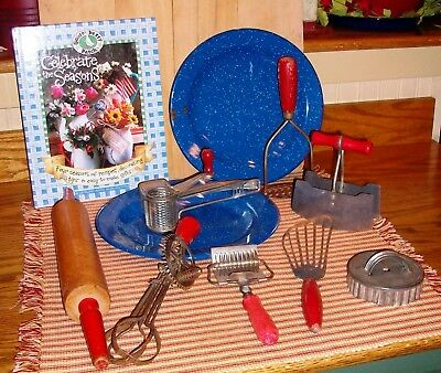 Antique Vintage Primitive Granite Red  Kitchen Gadgets Farmhouse Decor 11 PC Lot