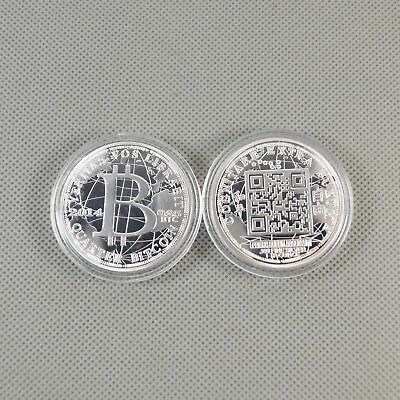 1 Pcs Silver Plated Commemorative Bitcoin Collectible Golden Iron Miner Coin B19