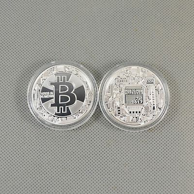 1 Pcs Silver Plated Commemorative Bitcoin Collectible Golden Iron Miner Coin B18