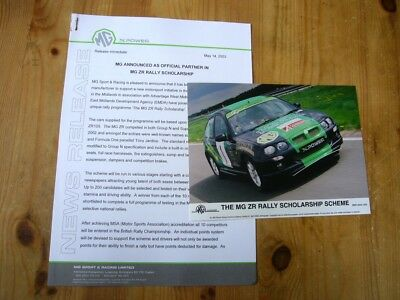 MG ZR rally scholarship press release & photo 2003, excellent order