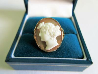 ANTIQUE HALLMARKED 9ct GOLD CARVED SHELL CAMEO RING - GREEK GODDESS - .Chester!