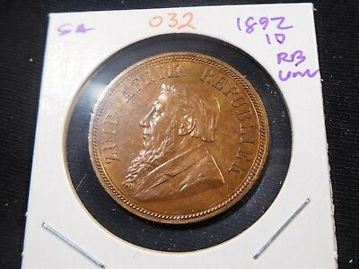 O32 South Africa 1892 Penny UNC Red Brown