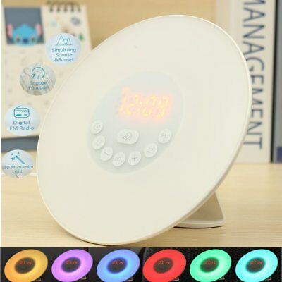 LED Wake-Up Light Sunrise Alarm Clock Radio Digital FM Bedroom Music Night Lamp
