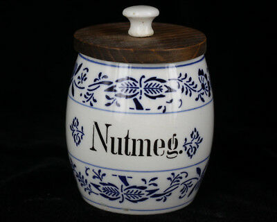 Antique Late 1800s German Porcelain Blue Onion Nutmeg Spice Jar Cobalt Flow Blue
