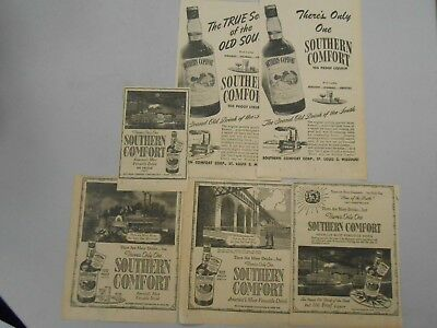 Vintage Southern Comfort Ads - Lot of 6- 1945- The Oregonian Newspaper- All Diff