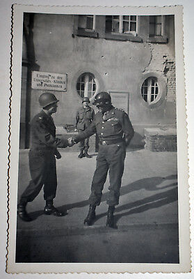 Original WWII Photo General George Patton Meeting Colonel In Germany 1945 Estate
