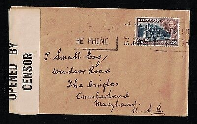 Ceylon 284 on a 1941 Censored Envelope to USA with a Partial Slogan Cancel