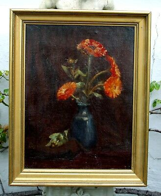 Fine Early C20th English School Oil on Canvas Still Life of Flowers in a Vase