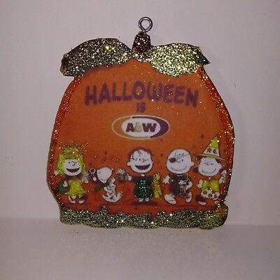 A&W Root beer Ad Peanuts Charlie Brown Halloween Glitter Wood  Ornament