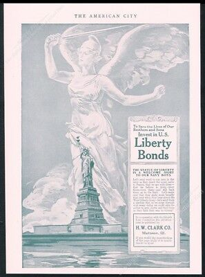 1918 Statue of Liberty art Buy Liberty Bonds WWI vintage print ad