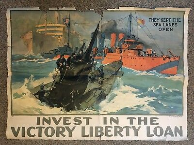 They Kept The Sea Lanes Open WWI Liberty Loan Poster L A Shafer 1918 Rare AS IS