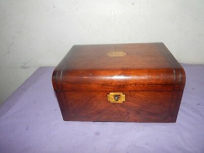 Antique Wooden With Brass Inlay Writing Slope.