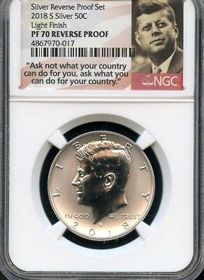 2018 S Silver REVERSE PROOF Kennedy 50C LIGHT FINISH NGC PF70  (POR)