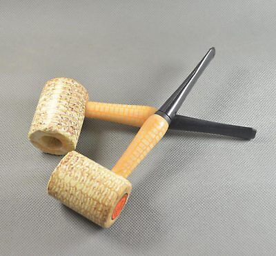 2PCS New Style Reinforcement Natural Corn Cob Tobacco Smoking Pipes Acrylic Stem