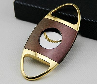 Fashion Golden Brown COHIBA Stainless Steel Cigar Cutter With Box