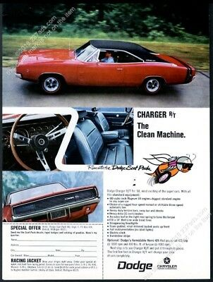 1968 Dodge Charger RT R/T red car 4 color photo vintage print ad