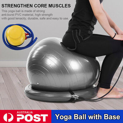 Pilates Balance Ball with Base Gym Training Exercise Fitness w/ Pump & Band Yoga