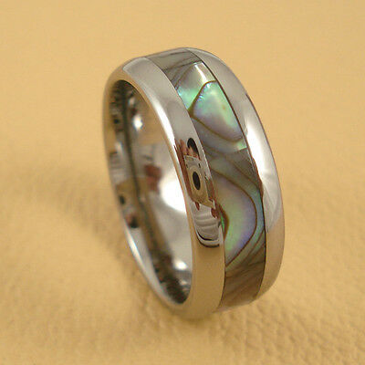 Unique Mens Womens  Shell Mosaic Tungsten Carbide Band Ring 8mm Size 10