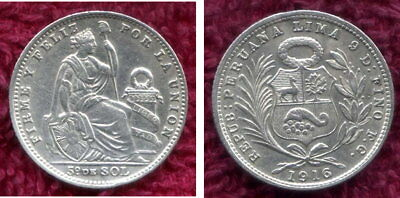 Silver 1916 One Fifth Sol from Peru