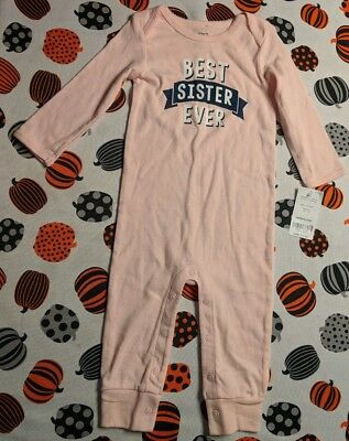 New Baby Girl Carters 9 Months Outfit Best Sister Ever one piece romper pink