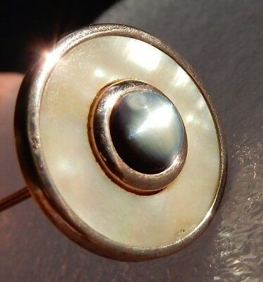 """Antique Victorian Mother Of Pearl Shell Button Style Hat Pin Hatpin 8"""""""
