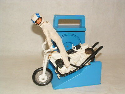 1973 Ideal Evel Knievel Stunt Cycle With Launcher In Working Condition