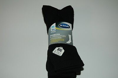 Dr. Scholls Mens Crew 4 Pack Diabetes Circulatory black Socks 13 15 Big Tall New