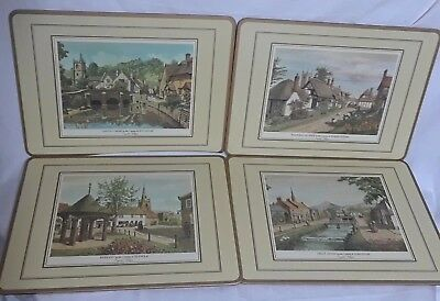 English Village Placemats 4 Cork Dining Collectible 9 x 12 inches