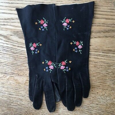 Vintage Embroidered French Suede Leather Gloves Sz 6 3/4 Old Antique
