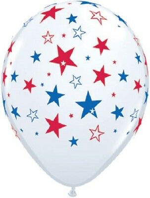 "12 Patriotic Stars Print 11"" Latex Balloons White w/ Blue & Red Design Qualatex"