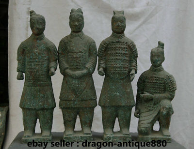 """20.4"""" Collect Old China Bronze Ware Dynasty Palace Terracotta Warriors 4 Pcs Set"""