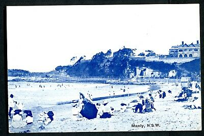 Old postcard Manly Beach Sydney bathers about 1910 I think
