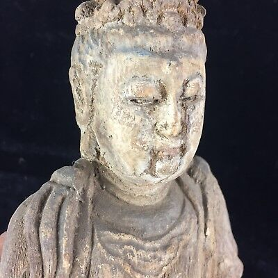Collectible Handwork Antique Wood Meditation Kwan-Yin Rare Chinese old Statue