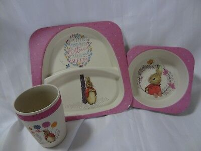 "BEATRIX POTTER ""FLOPSY RABBIT"" ORGANIC DINNER SET - PINK unused"