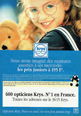 PUBLICITÉ ADVERTISING 127 1991 lunettes enfants Opticiens Krys - EUR ... 05502508999e